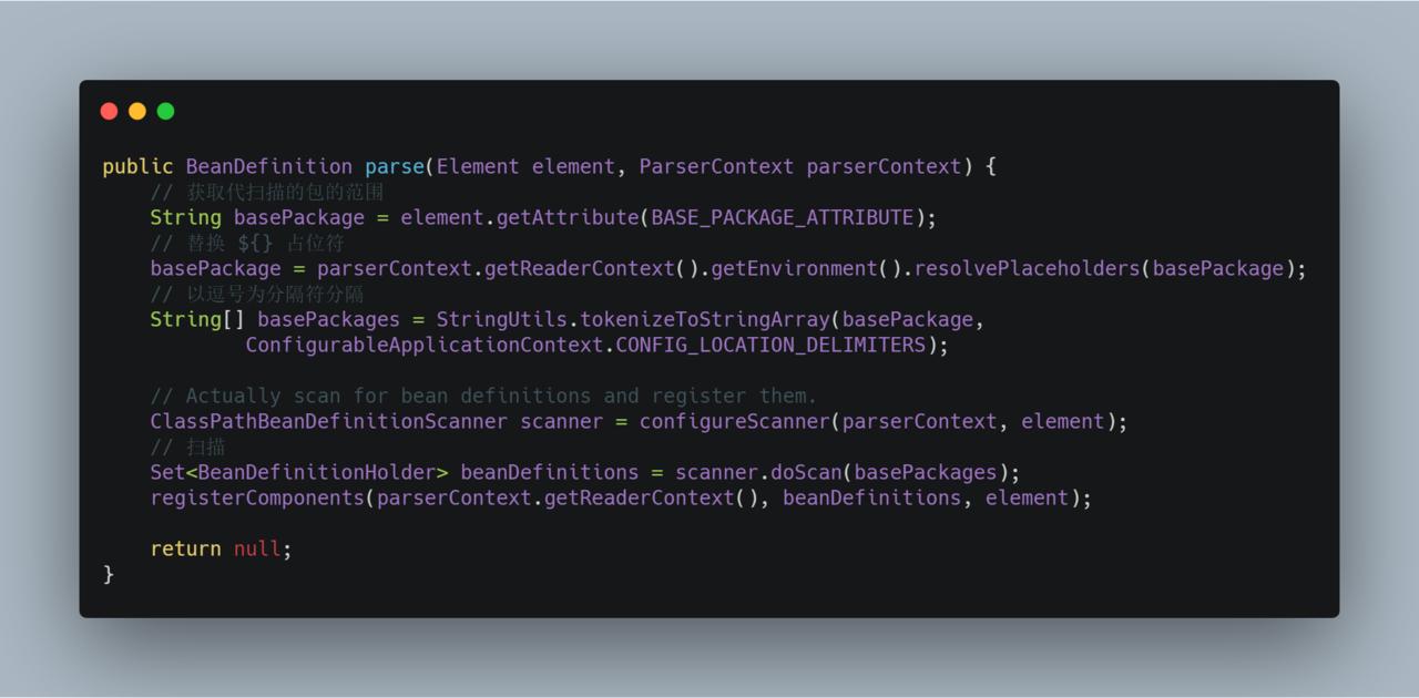 ComponentScanBeanDefinitionParser#parse